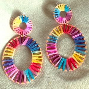 Anthropologie woven multi-color earrings
